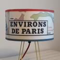 Abat-jour carte originale affiche scolaire Environs  de Paris