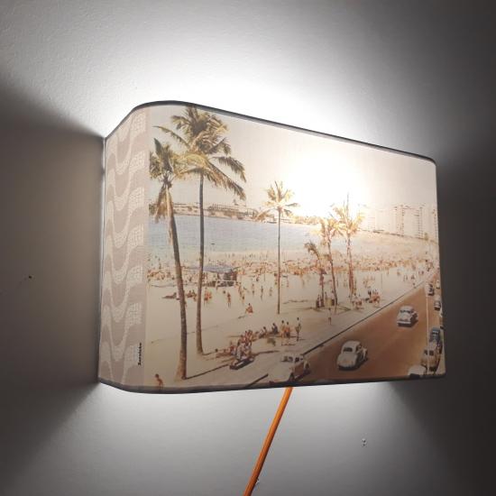 """Applique ou lampe  de chevet murale motif COPACABANA""""Photo de la plage"""