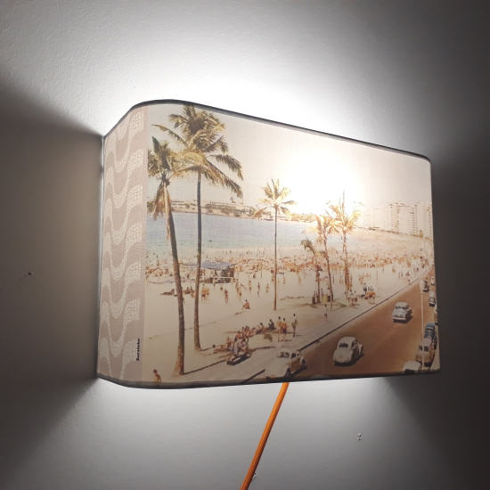 "Applique ou lampe  de chevet murale motif ""IPANEMA""Photo de la plage"