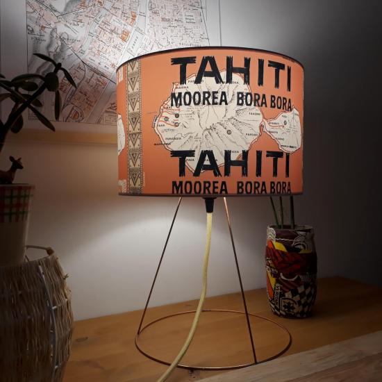 Abat jour vintage 28cm motif carte Polynesie Tahiti, Moorea, Bora bora, turquoise clair