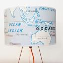 Abat jour  AUTOUR DU MONDE motif affiche scolaire recto verso OCEAN INDIEN
