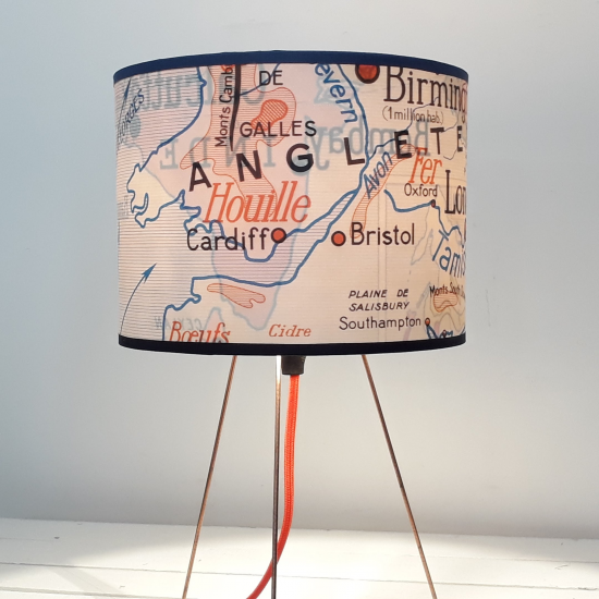 lampe motif affiche scolaire recto verso Paris